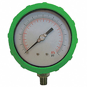 PRESSURE GAUGE,4 IN,30 PSI,LOWER,GR