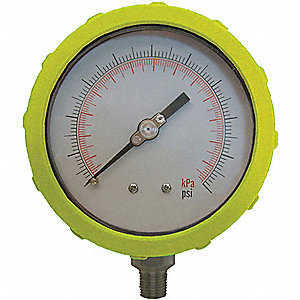 PRESSURE GAUGE,4 IN,30 PSI,LOWER,YE
