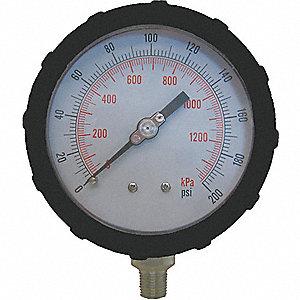 PRESSURE GAUGE,4 IN,200 PSI,LOWER,B