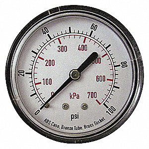 PRESSURE GAUGE,50 MM,100 PSI,BACK