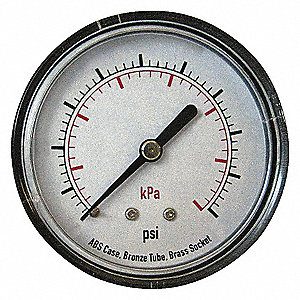 PRESSURE GAUGE,40 MM,600 PSI,BACK