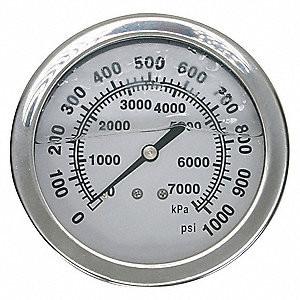 PRESSURE GAUGE,FILLED,2 1/2IN,1000P