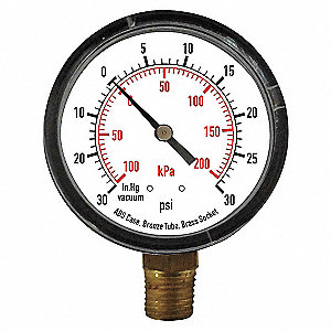 COMPOUND GAUGE,1 1/2 IN,VAC TO 30 P