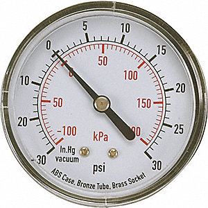 COMPOUND GAUGE,2 1/2 IN,VAC TO 30 P