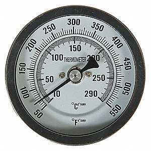 BIMETAL THERMOM,3 IN DIAL,50 TO 550