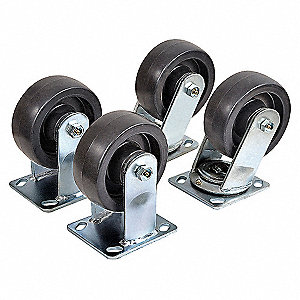 HOPPER CASTER KIT,4800 LB,6 IN DIA