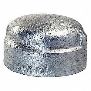 GALVANIZED CAP,3 IN,MALLEABLE IRON