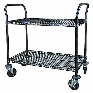 WIRE CART,2 SHELF,48X24X39,BLACK