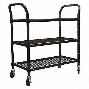 WIRE CART,3 SHELF,60X18X39,BLACK