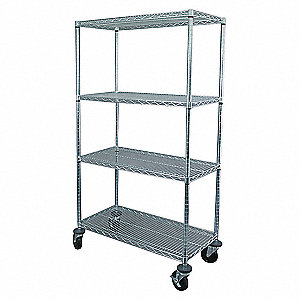 WIRE CART,4 SHELF,48X18X69,ZINC