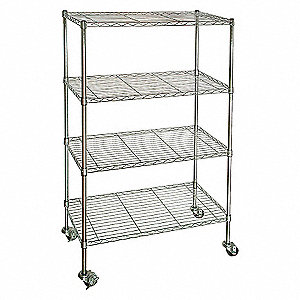 WIRE CART, 4 SHELF,CHROME,48X18X67