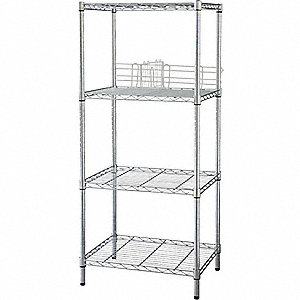 WIRE SHELVING,H63,W48,D18,CHROME,4