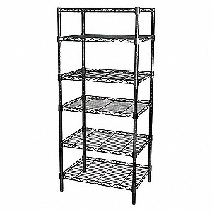 WIRE SHELVING,H63,W48,D18,BLACK,6 S