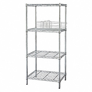 WIRE SHELVING,63X60X18,4 SHELF,CHRO