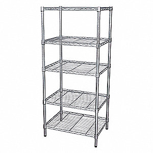 WIRE SHELVING,H63W48,D18,CHROME,5 S