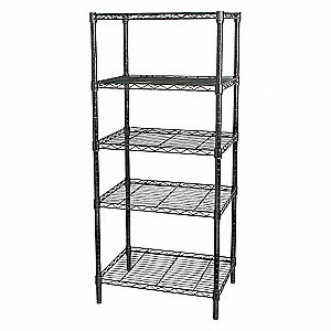 WIRE SHELVING,H63,W48,D18,BLACK,5 S
