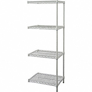 SHELVING,ADD-ON,H74,W24,D18,WHT,4 S