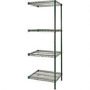 SHELVING,ADD-ON,H74,W36,D24,GRN,4 S