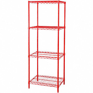 SHELVING,STARTER,H74,W48,D18,RED,4