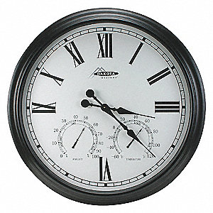 THERMO-HYGROMETER CLOCK,35 7/8IN,BL