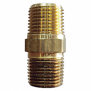 HEX NIPPLE,BRASS,1/8 IN,PK 10