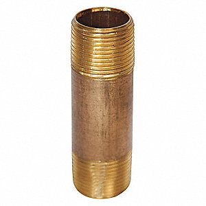NIPPLE, 3/4 X 2 IN L, RED BRASS