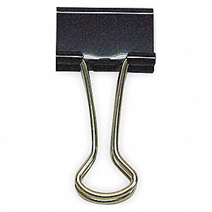 BINDER CLIP,1-1/4 IN,METAL,BLACK,PK