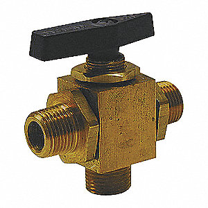 BRASS BALL VALVE,3-WAY,MNPT,1/4 IN