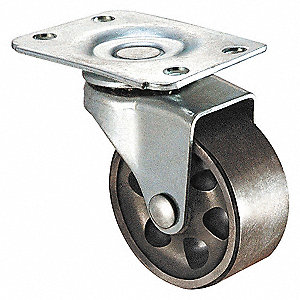 SWIVEL PLATE CASTER,125 LB,2 IN DIA