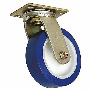 SWIVEL PLATE CASTER,900 LB,8 IN DIA