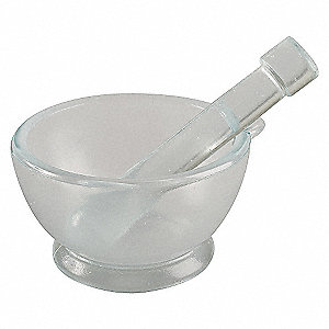 MORTAR AND PESTLE SET,GLASS,90MM DI