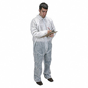 COVERALLS DISP COLLAR WHITE S PK25