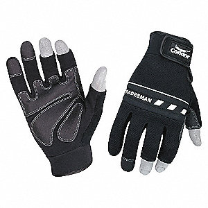 MECHANICS GLOVE,3-FINGER,BLACK,L,PR