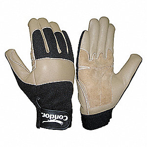 MECHANIC GLOVE,LEATHER,FULL,TN/BLK,