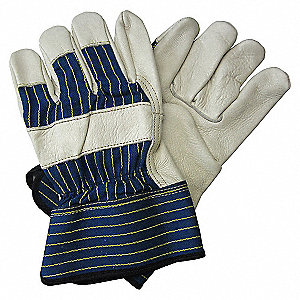 LEATHER GLOVES,SFTY CUFF,BLUE/TAN,2