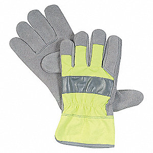 LEATHER GLOVES,COWHIDE,HIVIS LIME,X
