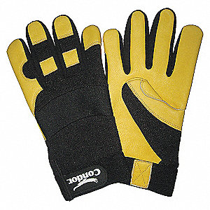 MECHANICS GLOVES,BLACK/YELLOW,M,PR