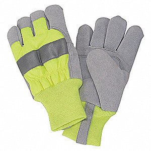 LEATHER PALM GLOVES,HI-VIS LIME,M,P
