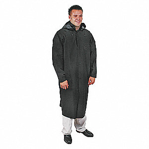 RAINCOAT WITH DETACHABLE HOOD,BLK,2XL