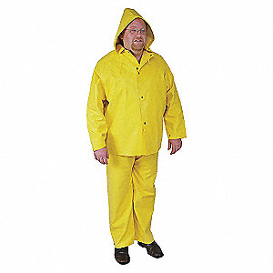 RAIN JACKET WITH HOOD,YELLOW,M