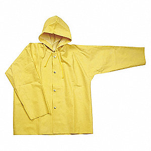 RAIN JACKET WITH HOOD,YELLOW,4XL