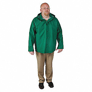 RAIN JACKET WITH DETACHABLE HOOD,GRN,S
