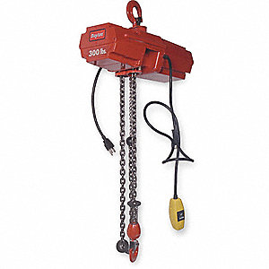ELEC CHAIN HOIST,300 LB,20 FT LIFT,