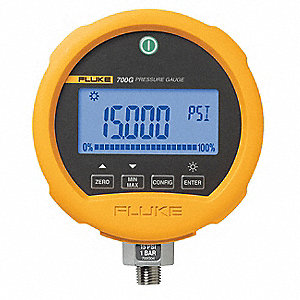 "-14 to 0 to 5000 psi Digital Compound Gauge, 3-3/4"" Dial, 1/4"" MNPT Connection, Metal"
