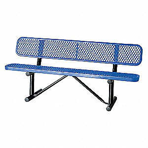BENCH,EXPANDED METAL,BLUE,LENGTH 72