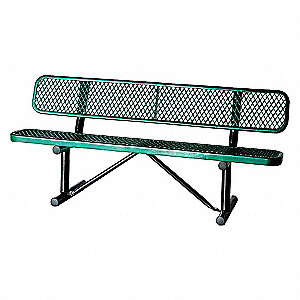 BENCH,EXPANDED METAL,GREEN,LENGTH 7