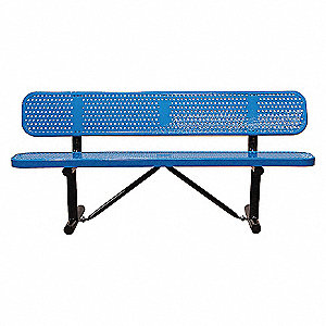BENCH,PERFORATED METAL,BLUE,LENGTH