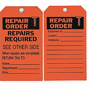 RPR ORD TAG,7 X 4 IN,BK/R,ISO 9001,