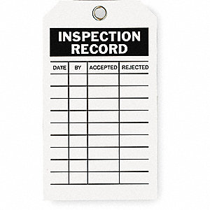 INSPECTION TAG,7 X 4 IN,BK/WHT,MET,