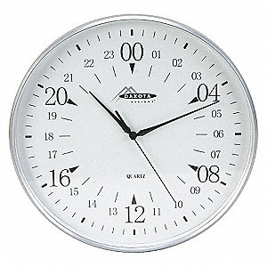 CLOCK,ROUND,24-HR,12IN,SILVER